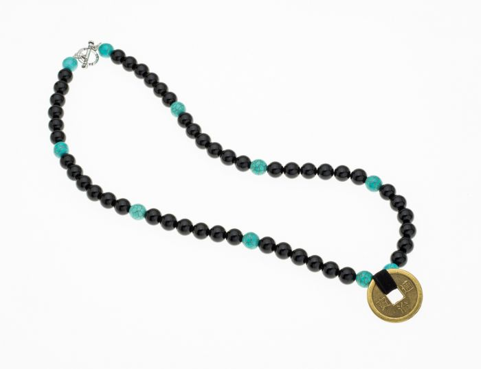 Genuine Semi Precious Onyx And Turquoise Bead Old Chinese Coin