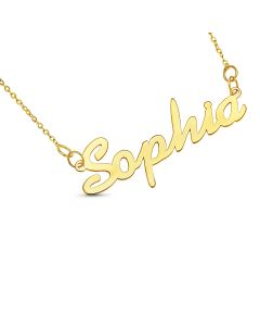 "10ct Yellow Gold Personalised Name Necklace On 16"" Trace Chain"
