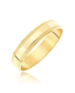 9CT Gold 4MM Millgrained Edges Wedding Band Ring
