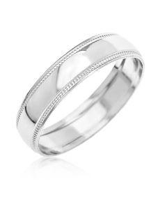 9CT White Gold D Shape 4 MM Millgrained Edges Wedding Band Ring