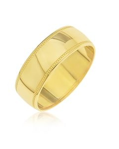 9CT Gold D shaped Millgrained Edges 6MM Wedding Ring