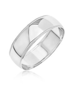 9CT White Gold D Shaped Millgrained Edges 6MM Wedding Ring