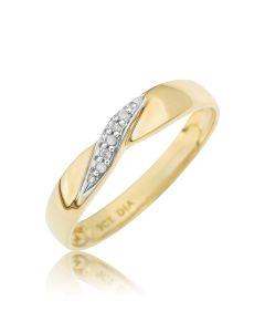 9ct Yellow Gold Diamond Set Twist Ring