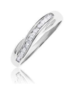 9ct White Gold Diamond Set Crossover Ring