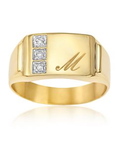 9ct Yellow Gold Personalised Gents One Initial Diamond Set Signet Ring