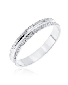 9ct White Gold Frosted Edge Wedding Ring