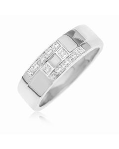 9ct White Gold Diamond Set Band Ring