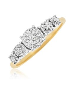 9ct Gold Fancy 5 Station Dress Ring Set With 1/4 Carat Diamonds