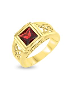 9ct Yellow Gold Gents Garnet Ring