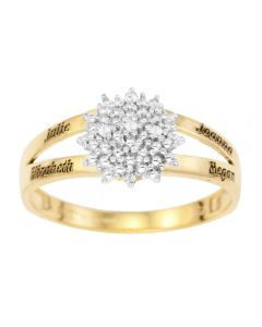 9CT Yellow Gold Personalised Dia Set Cluster Ring