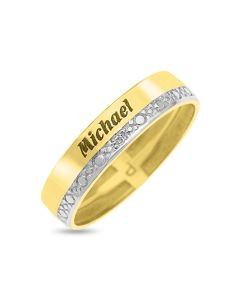 9ct Yellow Gold Personalised Ladies Diamond Set Wedding Band