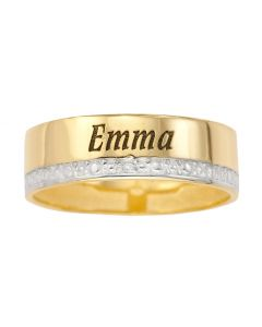 9ct Yellow Gold Personalised One Name Dia Set Wedding Band Ring
