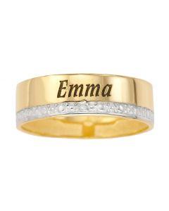 9ct Yellow Gold Personalised One Name Dia Set Wedding Band Ring