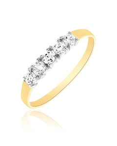 9ct Gold Five Stone Cubic Zirconia Half Eternity Ring