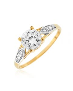 9ct Yellow Gold CZ Solitaire Ring