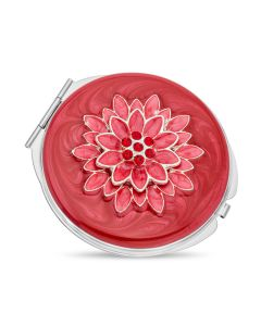 Red Enamel And Crystal Set Flower Topped Compact Mirror