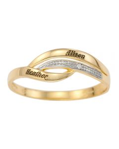 9ct Yellow Gold Personalised Dia Set Ring