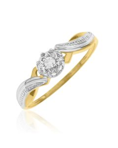 9ct Dia Set Rhodium Plated Solitaire Ring