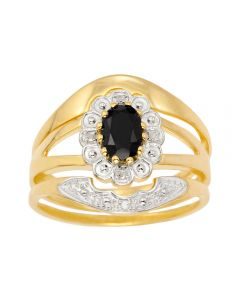 9ct Yellow Gold Dia And Sapphire Three Pieces Ring Set