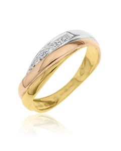 9ct 3 Colours Gold And Dia Set Cross Over Ring