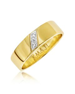 9ct Yellow Gold Personalised Diamond Set Band Ring