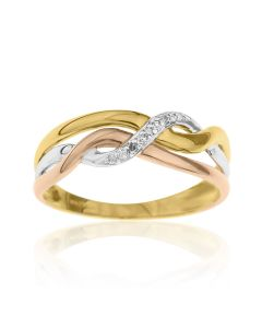 9ct Three Tone Gold And Diamond Ring