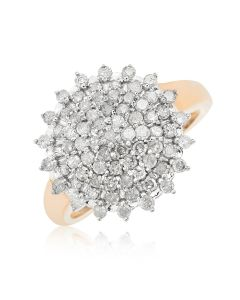 9ct Yellow Gold Diamond Set Round Cluster Ring