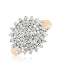 9ct Yellow Gold Diamond Set Round Cluster Ring