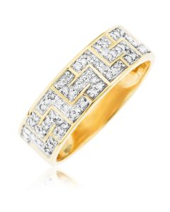 9ct Yellow Gold Dia Set Greek Key Design Ring