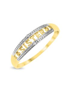 9ct Gold 'Sister' Diamond Set Family Ring