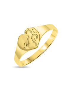 9ct Yellow Gold Personalised One Initial Heart Shaped Initial Ring