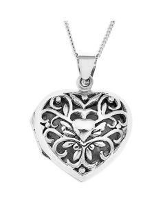 "Sterling Silver Filigree Heart Locket On 18"" Curb Chain"