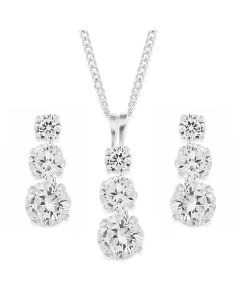 "Sterling Silver Rhodium Plated CZ Set Trilogy Earring and Pendant on 18"" Curb Chain Set"