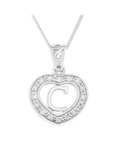 "Sterling Silver CZ Initial Heart Pendant On 18"" Curb Chain"