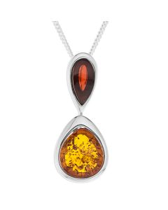 "Silver Amber Double Drop Pendant On 18"" Curb Chain"