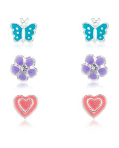 Sterling Silver Children's Set Of Three Enamel Stud Earrings