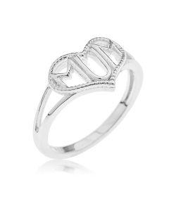 Sterling Silver 'Mum' Heart Ring