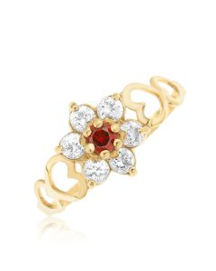 9ct Yellow Gold CZ Birthstone Set Cluster Ring