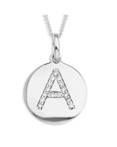 "Sterling Silver CZ set Initial Disc Pendant On 18"" Curb chain"