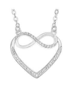 Sterling Silver Cubic Zirconia Set Open Infinity Heart Necklace