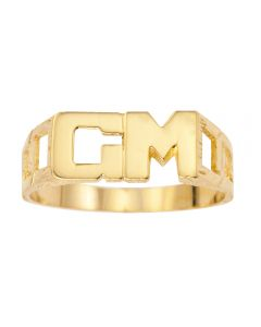 9ct Yellow Gold Personalised Gent's Double Initial Ring