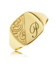 9ct Yellow Gold Personalised One Initial Embossed Gents Cushion Ring