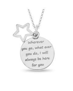 "Sterling Silver Sentimental Message Disc And Open Star Charm Pendant On 16"" Macro Belcher Chain"