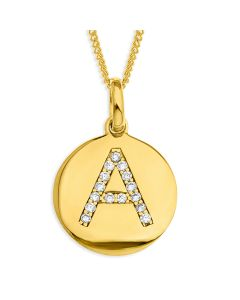 "Yellow Gold Plated CZ Initial Disc Pendant On 18"" Curb Chain"