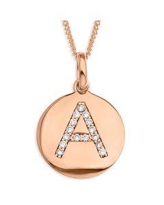 "Rose Gold Plated Silver CZ Initial Disc Pendant On 18"" Curb Chain"