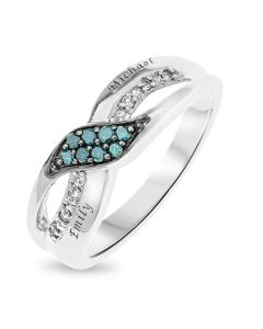 Rhodium Plated Silver Personalised Diamond Set Fancy Infinity Ring