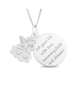 "Sterling Silver Message Disc And Angel Charm Pendant on 18"" Curb Chain"