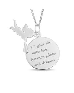 "Sterling Silver Angel Charm And Message Disc Pendant On 18"" Curb Chain"