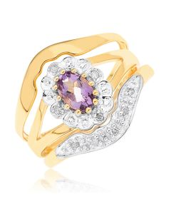 9ct Yellow Gold Dia And Amethyst Three Pieces Ring