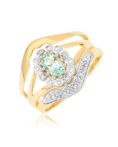 9ct Yellow Gold Dia And Blue Topaz Three Pieces Ring